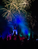 Magic Kingdom fireworks 13. Image of the Magic Kingdom Park castle with fireworks in the background Stock Image