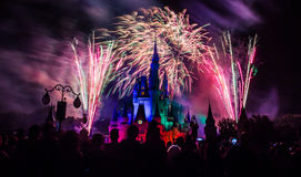 Magic Kingdom fireworks 14. Image of the Magic Kingdom Park castle with fireworks in the background Royalty Free Stock Images