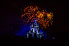Magic Kingdom fireworks 15. Image of the Magic Kingdom Park castle with fireworks in the background Royalty Free Stock Image