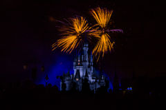 Magic Kingdom fireworks 17. Image of the Magic Kingdom Park castle with fireworks in the background Royalty Free Stock Photo