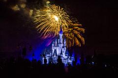 Magic Kingdom fireworks 20. Image of the Magic Kingdom Park castle with fireworks in the background Stock Photo