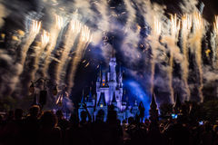 Magic Kingdom fireworks 22. Image of the Magic Kingdom Park castle with fireworks in the background Stock Photography
