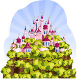 Magic Kingdom on a mountain. Pink Magic Kingdom for a little princess. Castle is located on a high mountain which is covered with greenery. It is nice summer Royalty Free Stock Images