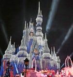 Magic Kingdom Park, Walt Disney World, Orlando, Florida. Fireworks and the ice covered Castle at Walt Disney World, Orlando, Florida at the Magic Kingdom Park Royalty Free Stock Image