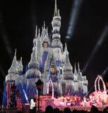 Magic Kingdom Park, Walt Disney World, Orlando, Florida. The ice covered Castle at Walt Disney World, Orlando, Florida at the Magic Kingdom Park as crowds watch Royalty Free Stock Photography