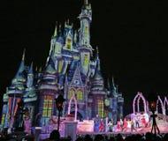 Magic Kingdom Park, Walt Disney World, Orlando, Florida. The ice covered Castle at Walt Disney World, Orlando, Florida at the Magic Kingdom Park as crowds watch Royalty Free Stock Photo
