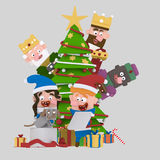 Magic Kings behind the xmas tree looking children opening gifts. 3D Stock Photography