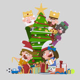 Magic Kings looking children opening gifts.3D Royalty Free Stock Image
