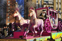Magic Kings Parade, pink horse. HUELVA - JANUARY 5: Big parade of the Biblical Magi Three Kings, who give toys to the children. Is a traditional spanish Stock Image