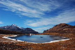 Magic Lake. A scenic view of a snowy lake at the Arunachal Pradesh in India Stock Photos