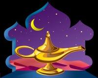 Magic lamp. Magic gold lamp on arabian night background vector illustration