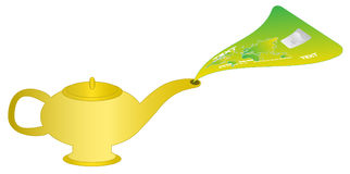 Magic lamp. Illustration of magic lamp and credit card Royalty Free Stock Photos