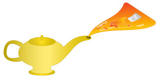 Magic lamp. Illustration of magic lamp and credit card Royalty Free Stock Photo