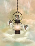 Magic lamp. With fairies in the sky Royalty Free Stock Images
