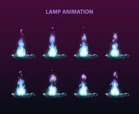 Magic lamp animation sprites. Blue fire frames for web or game design royalty free illustration