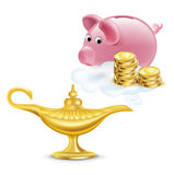 Magic lamp with golden coins and piggy bank isolated Stock Photos