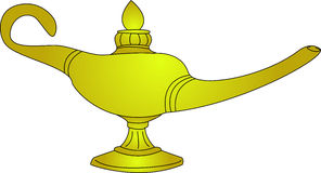 Magic Lamp. An illustration of Aladdin's golden magic lamp isolated on white royalty free illustration