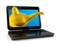 Magic lamp with laptop. Isolated on white background. 3d illustration royalty free illustration