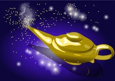Magic lamp. Smoking genie lamp in 10 EPS stock illustration