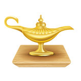 Magic lamp on wooden surface isolated on white background Royalty Free Stock Photo