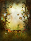 Magic Lamps in the fairytale wood Royalty Free Stock Image