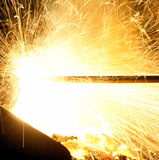Magic. Lancing of the tap-hole of the 3.2 MVA furnace at MINTEK in South Africa on February 16th, 2016 Stock Photo