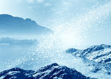 Magic landscape. Arctic  landscape. Winter season. 3d graphics Royalty Free Stock Photo
