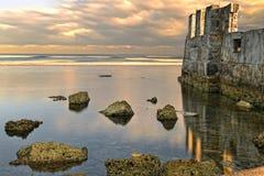 Magic Landscape, Ruins and Ocean stock photo