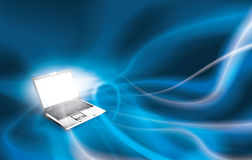 Magic laptop spreading the knowledge Royalty Free Stock Photography
