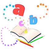 Magic of learning. Open book with colorful stars and letters bursting out of it Royalty Free Stock Images