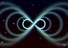 Magic lemniscate symbol, infinity or sideways eight spreads the mystic shiny energy in spiritual space. Magic lemniscate symbol, infinity or sideways eight Stock Image