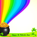 Magic leprechauns pot with gold under the rainbow Stock Images