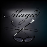 magic lettering with mustache and magic wand on black Stock Images