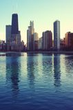 Magic Light. The skyline of Chicago reflected on Lake Michigan Royalty Free Stock Images