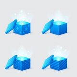 Magic light comes from blue gift boxes Royalty Free Stock Photo