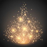 Magic light  effect. Glow special effect light, flare, star and burst. Isolated spark. Vector illustration Stock Photography