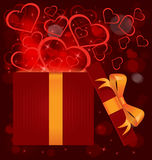 Magic light gift box hearts vector Royalty Free Stock Image