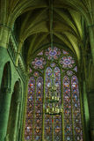 Magic light inside Cathedral of Dinant stock image