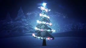 Magic light swirling around snowy christmas tree stock video
