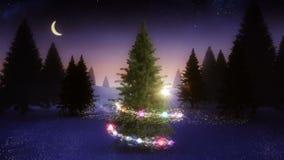 Magic light swirling around snowy christmas tree stock footage