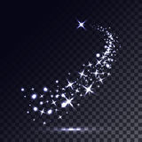Magic light trail of glittering comet tail. Royalty Free Stock Photos