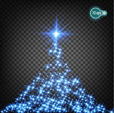 Magic lighting effects to decorate the Christmas tree  Sparks of light. Transparent pattern of glowing geranium christmas Stock Image