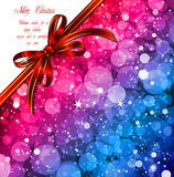 Magic Lights background with red bow. Vector Stock Image