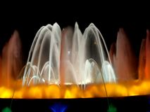 Magic lights fountain,detail. Montjuic magic fountain. A lights,colors and music spectacle at night, displayed in magic fountains situated in Barcelona (Spain Royalty Free Stock Photo