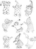 Magic little gnomes outlines Stock Images