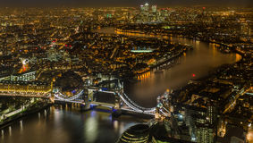 Magic London at Night from the bird view. London night bird view on Thames River and Tower Bridge from the Shard skyscraper Royalty Free Stock Photography