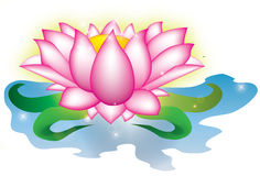 Magic lotus. Illustration of lotus flower on the water with glow and sparkles stock illustration