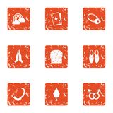 Magic of love icons set, grunge style. Magic of love icons set. Grunge set of 9 magic of love vector icons for web isolated on white background Royalty Free Stock Photography