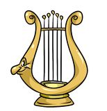 Magic lyre cartoon illustration Royalty Free Stock Photo