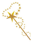 Magic And A Magic Wand. Vector illustration of a magic wand with golden stars design on a white background Royalty Free Stock Photo